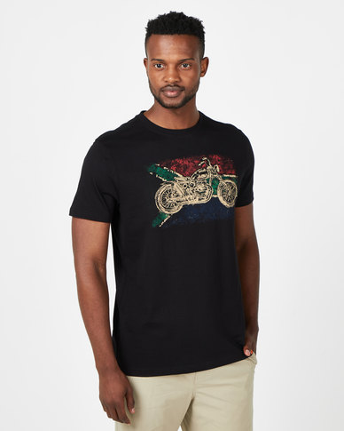 Vents Brull Za Flag Motorbike T-Shirt Black
