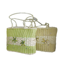 Fino 2Pcs Straw Bag with Shells and Bead Work