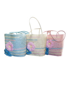 Fino 3Pcs Set Straw Beach Bag with Front Flower Details