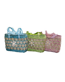 Fino 3Pcs Straw Bag with Shells in Front