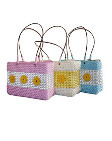 Fino 3Pcs Straw Bag with PU Leather Flowers