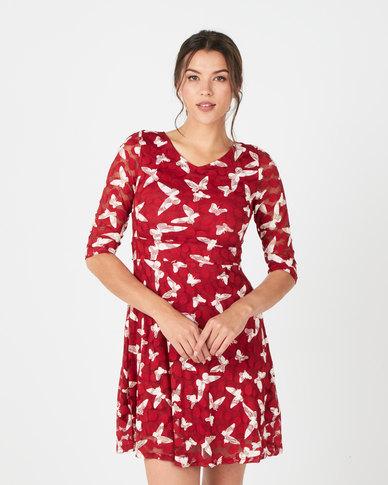 Revenge Butterfly Design 3/4 Sleeve Dress Red