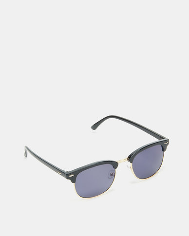 Utopia Clubmaster Sunglasses Black with Charcoal Lense