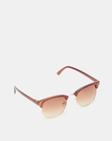 Utopia Clubmaster Sunglasses Brown