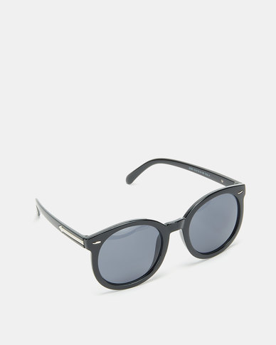 Utopia Big Round Framed Sunglasses Black