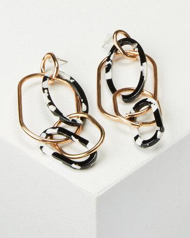 All Heart Linked Drop Earrings Gold-tone