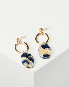 All Heart Oval Drop Earrings Dark Blue