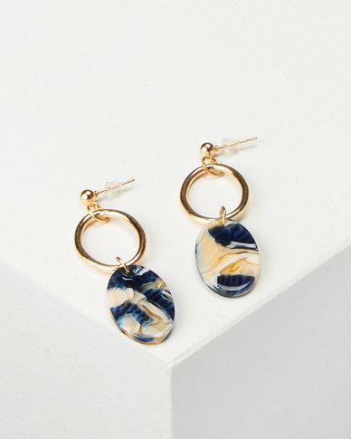 All Heart Oval Drop Earrings Dark Blue