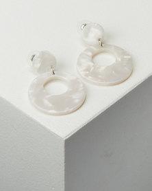 All Heart Resin Drop Earrings White