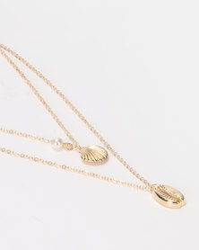All Heart Shell Layered Necklace Gold-tone