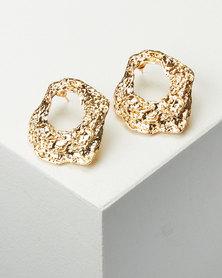 All Heart Hammered Hoop Earrings Gold-tone