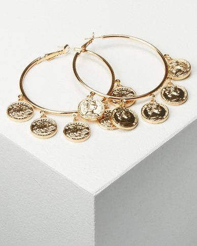 All Heart Coin Hoop Earrings Gold