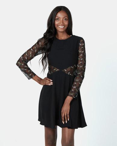 Revenge Lace Sleeve Dress Black