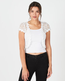 Revenge Embroidered Sheer Bolero White