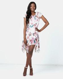 Revenge Flared Leaf Print Dress White/Pink
