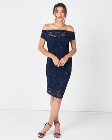 Revenge Sequin Bodycon Dress Navy