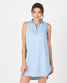 Revenge Sleeveless Tencil Dress Light Blue