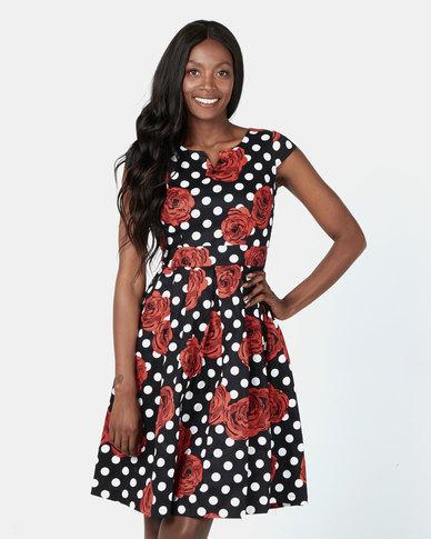 Revenge Dot and Rose Print Dress Black