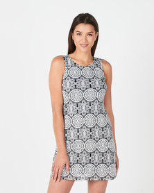 Revenge Circle Print Dress  Black & White