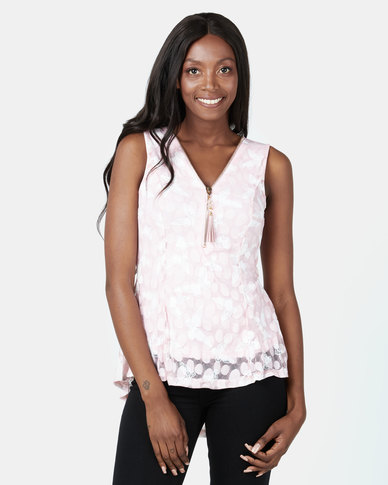 Revenge Butterfly Flare Top Pink
