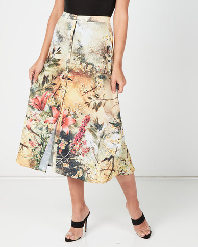 Paige Smith Bubbly Girl Print Button Front Skirt Multi