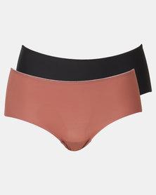 Playtex Everyday Comfort 2 Pack Seamless Hi-cut Panties Mochachino & Black