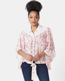 Paige Smith Crepe Print Blouse Pink