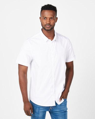 Brave Soul Short Sleeve Stretch Shirt White