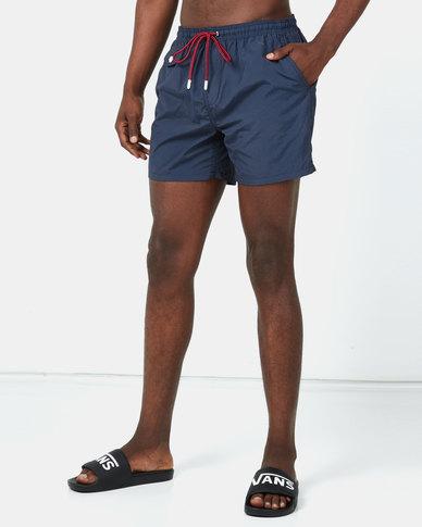 Brave Soul Plain Swimshorts with Pocket Details Navy