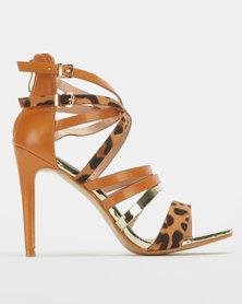 Miss Black Villa Strappy Combo Heel Tan Leopard