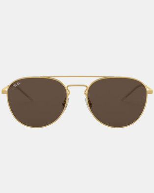Ray-Ban RB3589 Rubber Sunglasses Gold/Brown