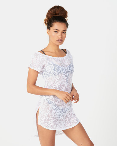 Sissy Boy Crochet Lace Cover Up White