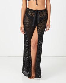 Sissy Boy Crochet Lace Cover Up Skirt Black