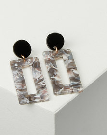 Black Lemon Rectangle Drop Earrings Grey
