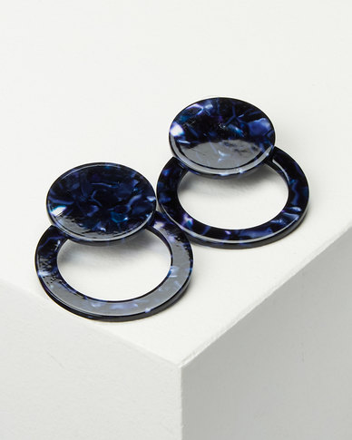 Black Lemon Circle Drop Earrings Blue