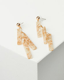 Black Lemon Multi Resin Drop Earrings Beige