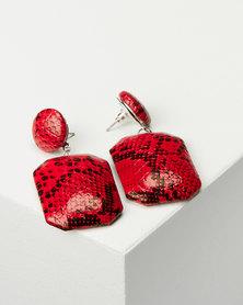 Black Lemon Snakeskin Drop Earrings Red