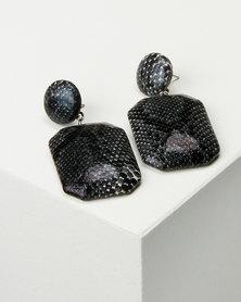 Black Lemon Snakeskin Drop Earrings Grey