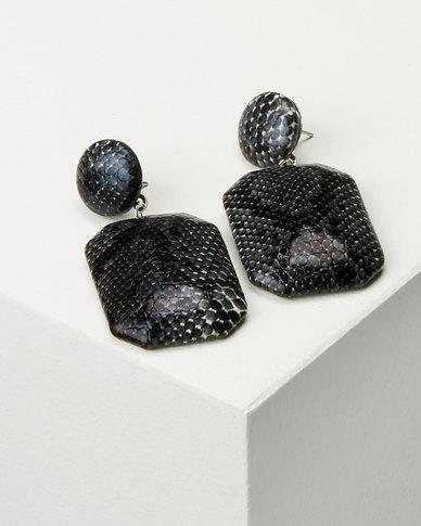 Black Lemon Snakeskin Drop Earrings Grey