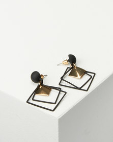 Black Lemon Square Drop Earrings Black