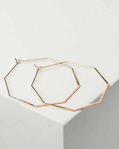 Black Lemon Hexagon Hoop Earrings Gold