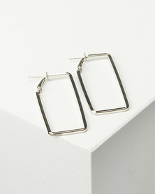 Black Lemon Rectangle Hoop Earrings Silver