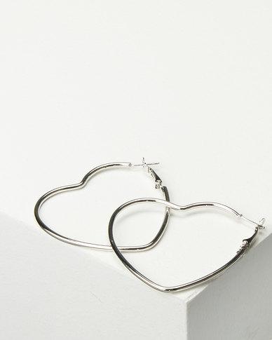 Black Lemon Heart Hoop Earrings Silver