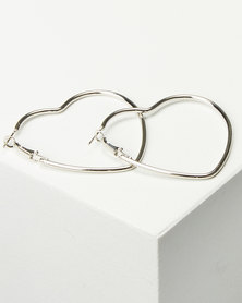 Black Lemon Angled Hoop Earrings Silver