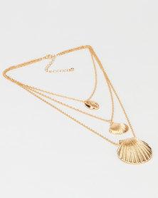 Black Lemon Layered Shell Necklace Gold