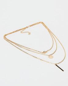 Black Lemon Layered Necklace Gold