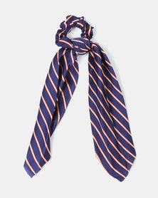Black Lemon Stripe Scarf Hair Tie Navy