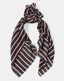 Black Lemon Stripe Scarf Hair Tie Black