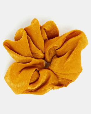 Black Lemon Scrunchie Hair Tie Mustard
