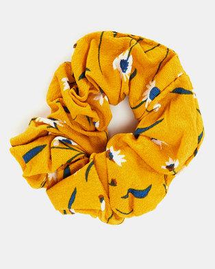 Black Lemon Printed Scrunchie Hair Tie Mustard